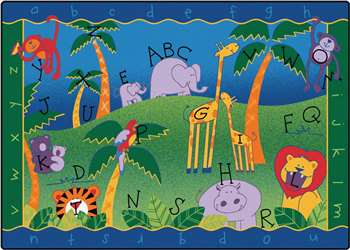 "Alphabet Jungle Rectangle 4'5""x5'10"" Carpet, Rugs For Kids"