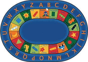 "Bilingual Circletime Rug Oval 8'3""x11'8"" Carpet, Rugs For Kids"