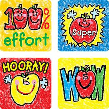 Stickers Apples Kid-Drawn 120/Pk Acid & Lignin Free By Carson Dellosa