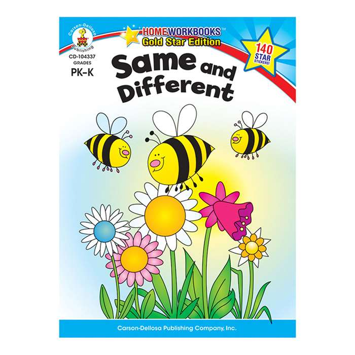 Same & Different Home Workbook Gr Pk-K By Carson Dellosa