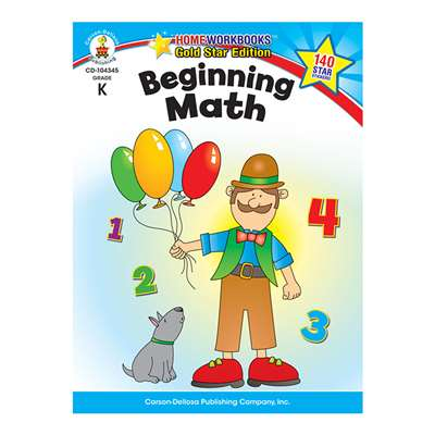 Beginning Math Home Workbook Gr K By Carson Dellosa