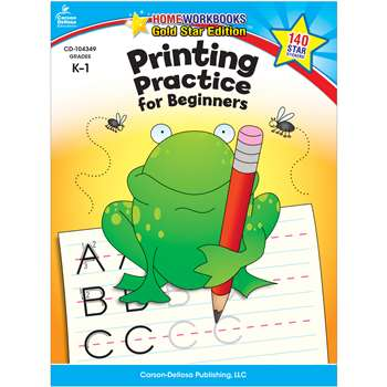 Printing Practice For Beginners Home Workbook Gr K-1 By Carson Dellosa
