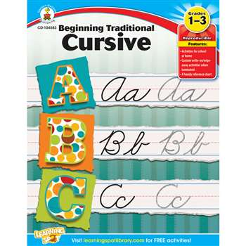 Beginning Traditional Cursive Gr 1-3 By Carson Dellosa