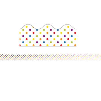 Super Power Rainbow Dots Scalloped Borders, CD-108237