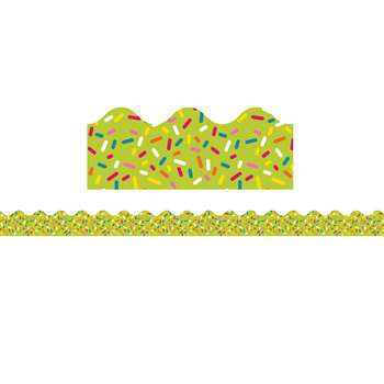 School Pop Lime Sprinkles Scalloped Border, CD-108254