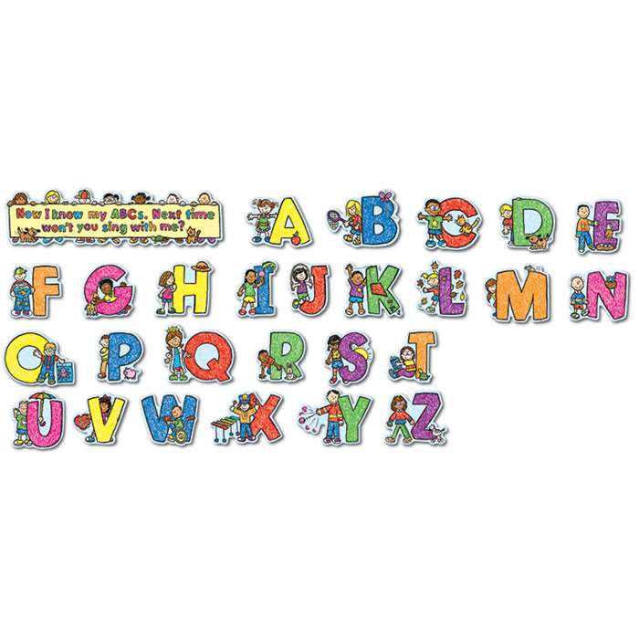 Alphabet Kids Kid-Drawn Bulletin Board Set By Carson Dellosa