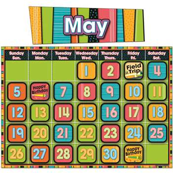 Stylin Stripes Calendar Bulletin Board Set By Carson Dellosa
