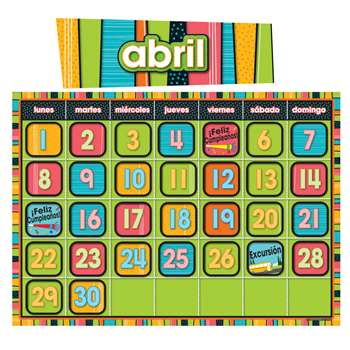 Stylin Stripes Spanish Calendar By Carson Dellosa