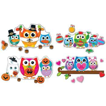 Celebrate With Colorful Owls Bulletin Board Set By Carson Dellosa