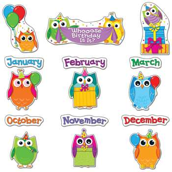 Colorful Owls Birthday Bulletin Board Set By Carson Dellosa