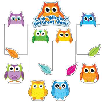 Colorful Owls Good Work Bulletin Board Set By Carson Dellosa