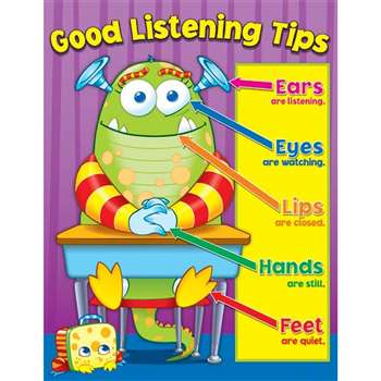 Good Listening Tips Chartlet Gr K-5 By Carson Dellosa