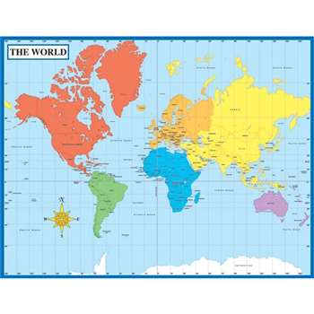 Map Of The World Laminated Chartlet 17X22 By Carson Dellosa