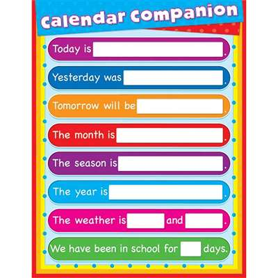 Calendar Companion Laminated Chartlet By Carson Dellosa