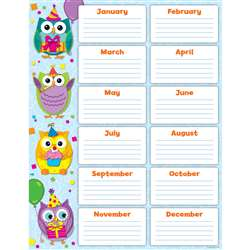 Colorful Owls Birthday Chart By Carson Dellosa