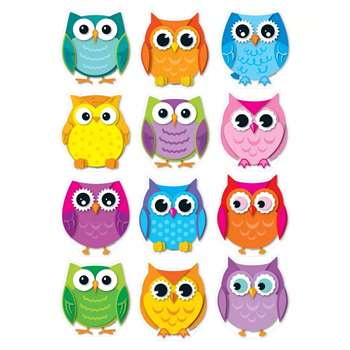 Colorful Owls Cut Outs 36Ct By Carson Dellosa