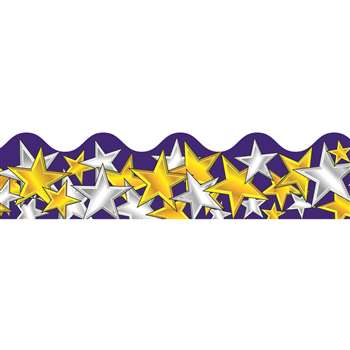 Border Gold & Silver Stars Scalloped By Carson Dellosa