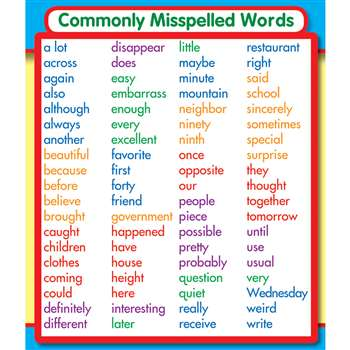 Commonly Misspelled Words Stickers By Carson Dellosa