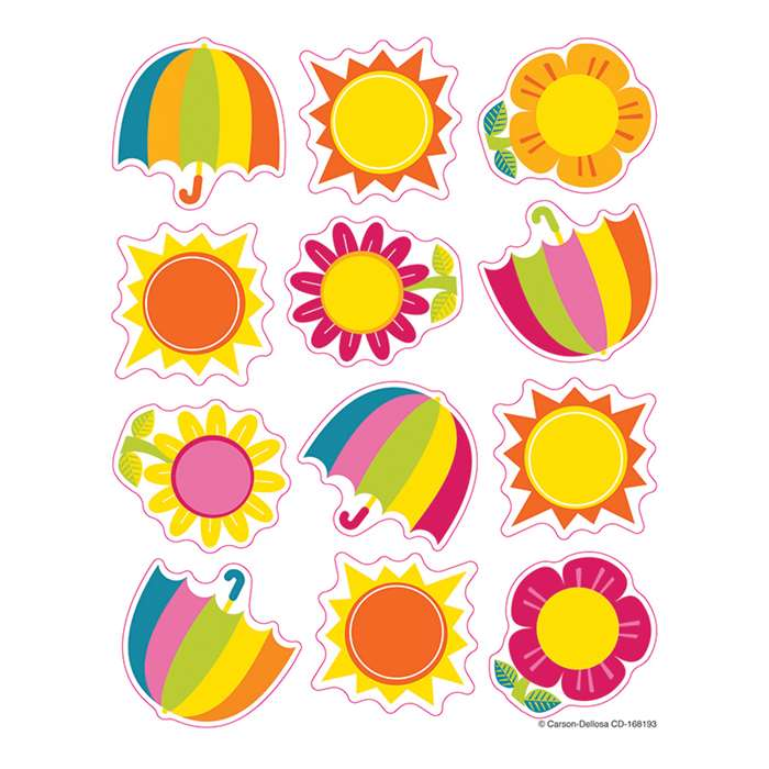 Spring Showers & Sun Shape Stickers, CD-168193