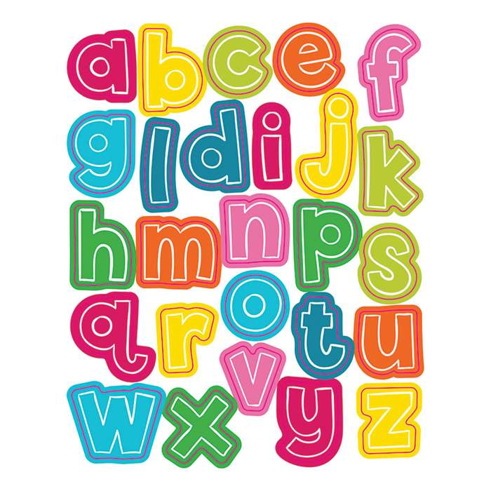 School Pop Alphabet Lowercase Shape Stickers, CD-168205