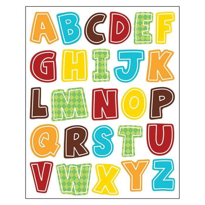 Hipster Alphabet Uppercase Shape Stickers, CD-168211