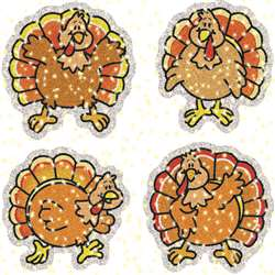 Dazzle Stickers Turkeys 75-Pk Acid & Lignin Free By Carson Dellosa