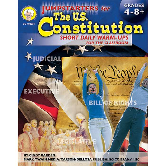 Jumpstarters For The Us Constitution Grade 4-8+ By Carson Dellosa
