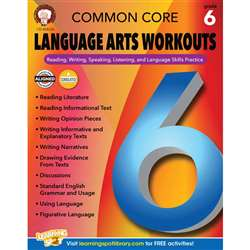 Gr 6 Common Core Language Arts Workouts, CD-404226