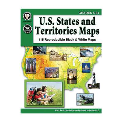 Us States & Territories Maps Gr 5-8, CD-404248