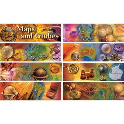 Maps And Globes Bulletin Board Set Gr 4-8 (8 Strip, CD-410046
