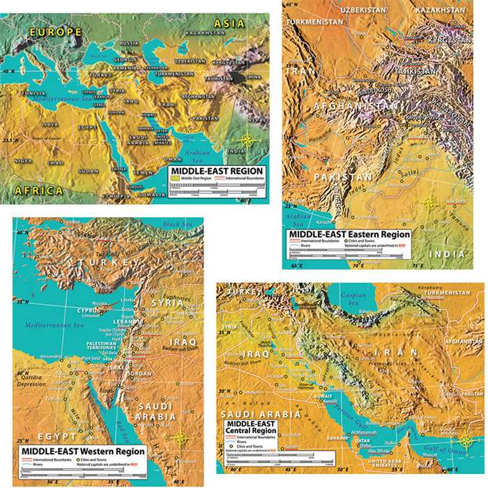 World Geography Middle East Maps Bulletin Board Set By Carson Dellosa