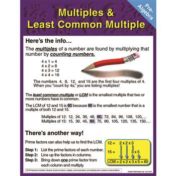 Pre-Algebra Multiples & Least Common Multiple Chartlet By Carson Dellosa