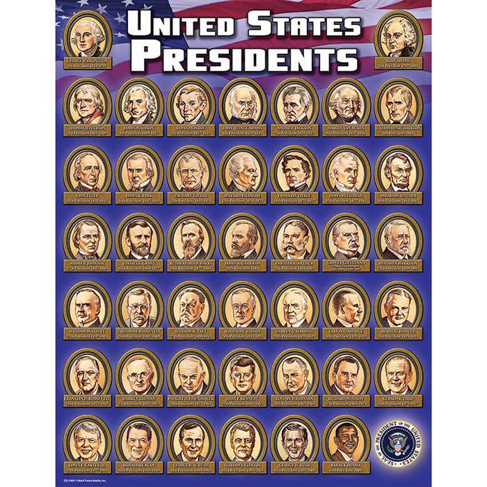 Presidents Chartlet (Revised) By Carson Dellosa