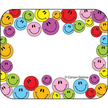Name Tags Multicolored Smiley 40/Pk Faces Self-Adhesive By Carson Dellosa