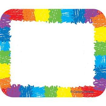 Name Tags Rainbow Kid-Drawn 40/Pk Self-Adhesive By Carson Dellosa