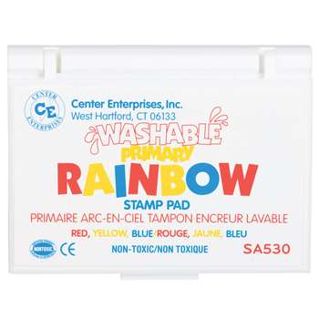 Stamp Pad Rainbow Primary 3 Colors Washable By Center Enterprises