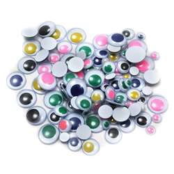 Wiggle Eyes Round Asst Sizes & Colors 100Ct, CHL64550