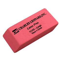 Synthetic Pink Wedge Erasers, Large, 12/Bx By Charles Leonard