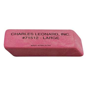 12/Bx Large Pink Economy Wedge Erasers By Charles Leonard