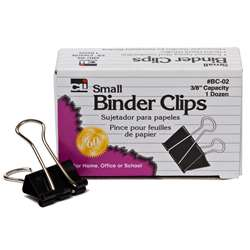 Binder Clips Small 12Ct 3/8In Capacity By Charles Leonard