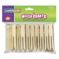 Wooden Flat Slotted Clothespin 40Pk Natural By Chenille Kraft