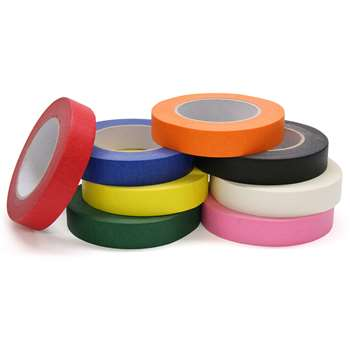 Colored Masking Tape 8 Roll Assortd 1X60 Yrds By Chenille Kraft