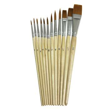 Watercolor Brushes 12Pk Assorted Sizes By Chenille Kraft