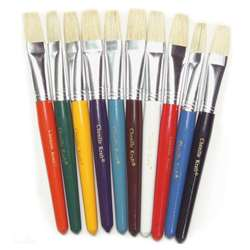 Flat Wooden Handle Brushes 10/Set By Chenille Kraft