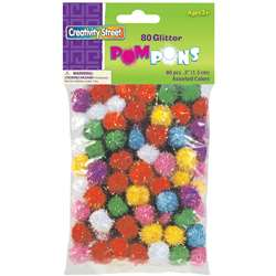 Glitter Pom Poms Bag Of 80 1/2 Inch By Chenille Kraft