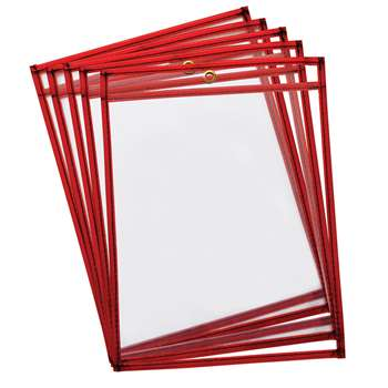 Reusable Dry Erase Pockets 10Pk Fluorescent Red, CK-9895