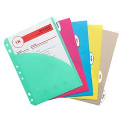 Mini Size 5 Tab Poly Index Dividers With Pockets Pack Of 5 By C-Line