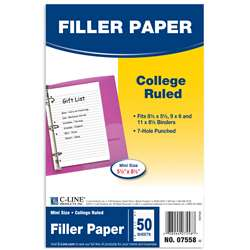 C Line White 50 Pk Mini Ruled Filler Paper, CLI07558
