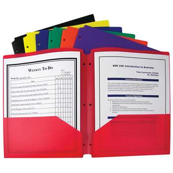 Shop Bx Of 36 Two Pocket Poly Portfolios Three Hole Punch Assorted Colors - Cli33930 By C-Line