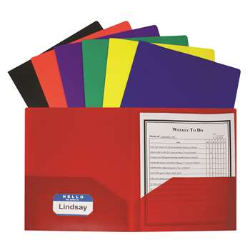 Two Pocket Poly Portfolios 36/Box Assorted Without Prongs By C-Line